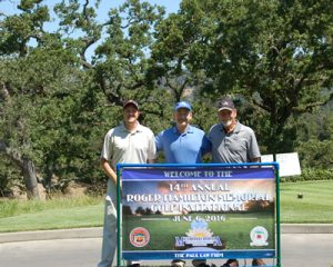 Golfing on behalf of the Mesothelioma Research Foundation of America (left to right) were Assistant Executive Director Shane Rucker, and Founding Board Members Jerry Neil Paul and Jim Kellogg.